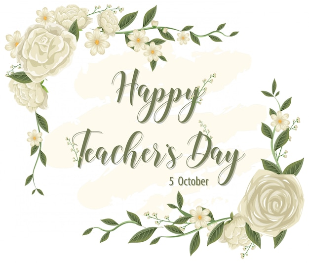 Logo de la journée des enseignants heureux avec thème floral