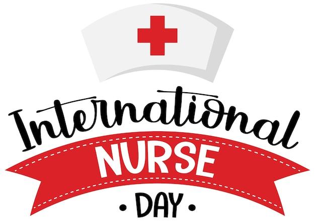 Logo de la journée internationale des infirmières avec bonnet d'infirmière
