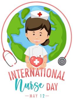 Logo de la journée internationale des infirmières avec une infirmière mignonne sur fond de globe