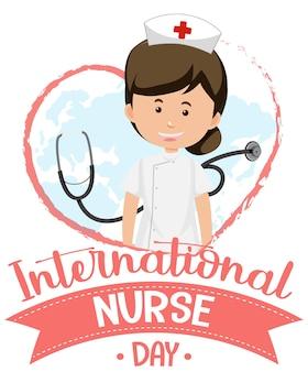 Logo de la journée internationale des infirmières avec une infirmière mignonne et un stéthoscope
