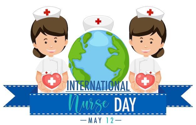 Logo de la journée internationale des infirmières avec des infirmières mignonnes