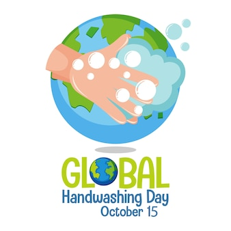 Logo de la journée mondiale du lavage des mains pour carte de voeux et affiche