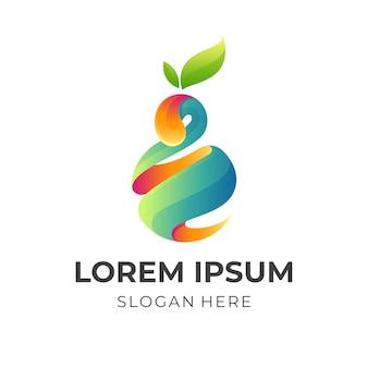 Logo de jus de fruits frais, jus et avocat, logo combiné avec style coloré 3d