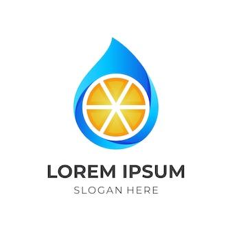 Logo de jus de fruits frais, jus et citron, logo combiné avec style de couleur jaune et bleu 3d