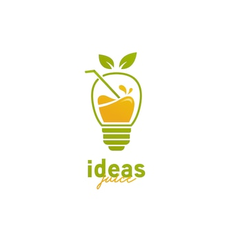 Logo de jus d'idée, icône de logo de jus de smoothie d'ampoule d'idée créative