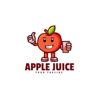 Logo jus pomme dans style mascotte simple