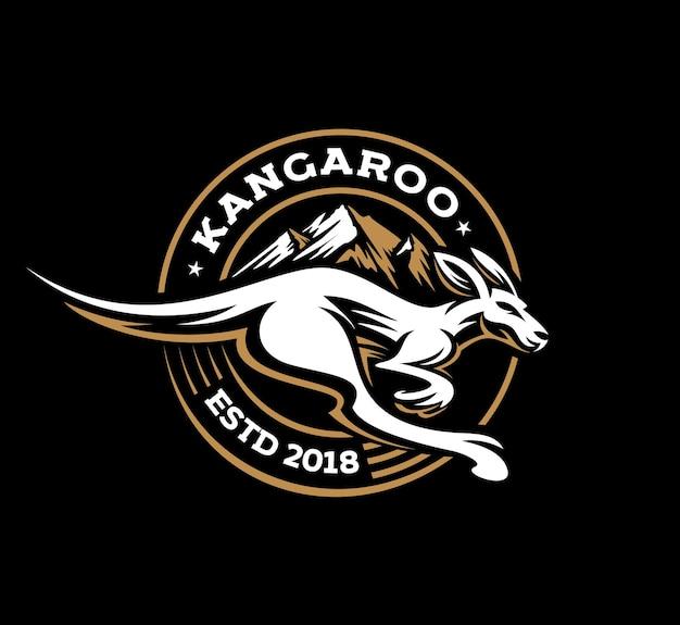 Logo kangourou saut rapide rétro en insigne