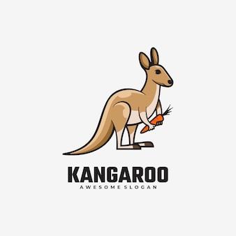 Logo kangourou style de mascotte simple.