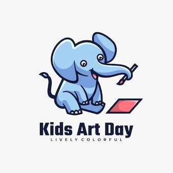 Logo kids art day style de mascotte simple.