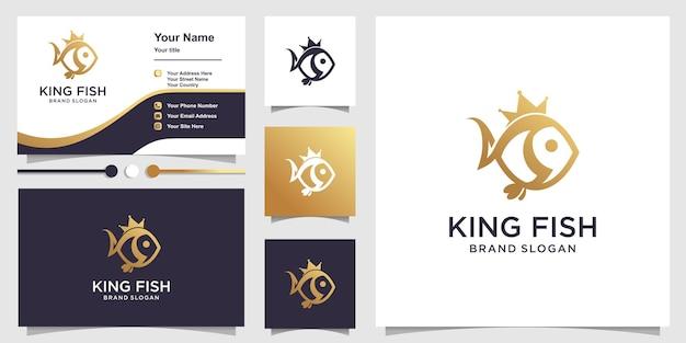 Logo king fish avec concept de personnage unique et conception de carte de visite vecteur premium