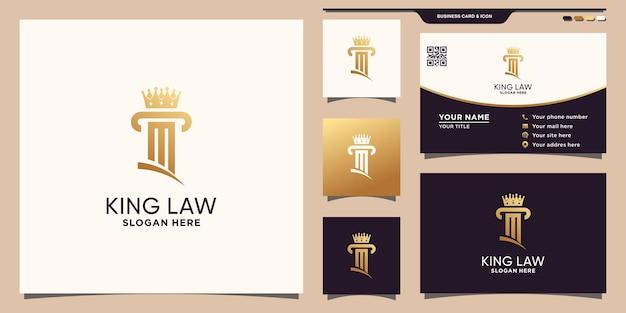 Logo king law avec couleur de style doré et concept créatif et conception de carte de visite vecteur premium