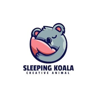 Logo koala dormant dans style mascotte simple