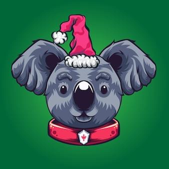 Logo de koala de noël
