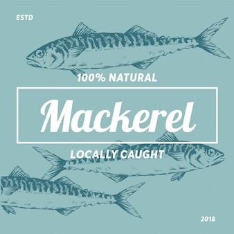 Logo label de maquereau silhouette de fruits de mer