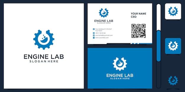 Logo de laboratoire de moteur avec vecteur de conception de carte de visite premium