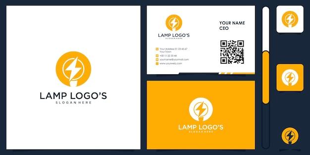 Logo de lampe avec vecteur de conception de carte de visite premium