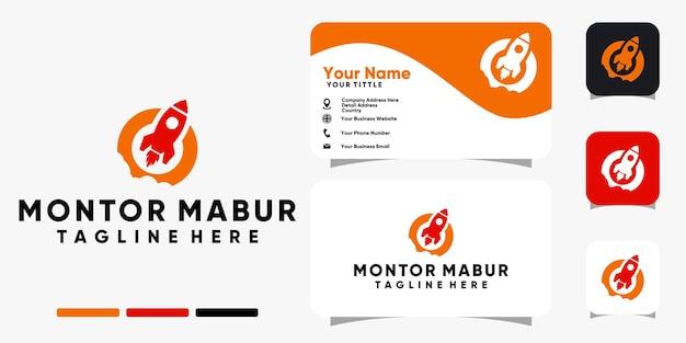 Logo de lancement de fusée et modèle de vecteur de conception de carte de visite