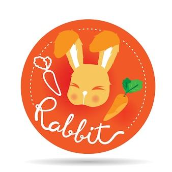 Logo de lapin sur badge orange