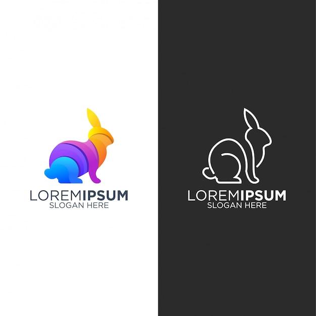 Logo de lapin à colorier et au trait