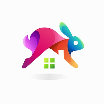 Logo de lapin avec concept de maison
