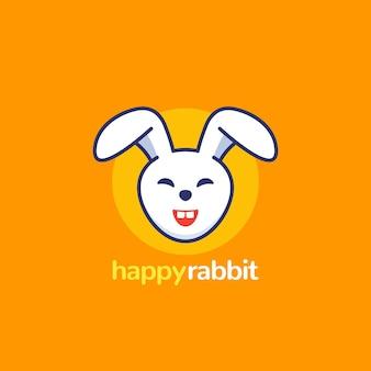 Logo de lapin heureux, icône vectorielle