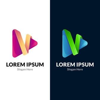 Logo de lecture multimédia lettre v