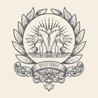 Logo de légumes avec style vintage