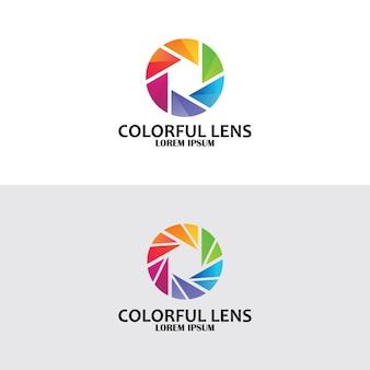 Logo de lentille colorée