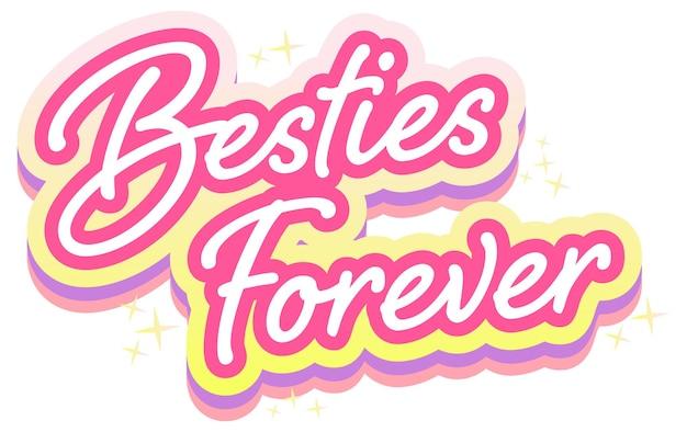 Logo de lettrage rose besties pour toujours