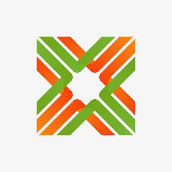 Logo de lettre abstraite x connection avec courbe