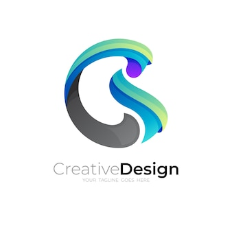 Logo de la lettre b abstraite avec un design coloré, icône de cercle