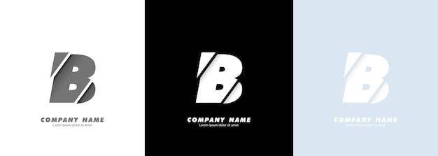 Logo de la lettre b de l'alphabet art abstrait. conception cassée.