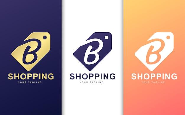 Logo de la lettre b dans l'étiquette de prix. concept de logo shopping simple