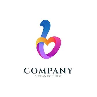 Logo de la lettre b avec forme de coeur ou d'amour
