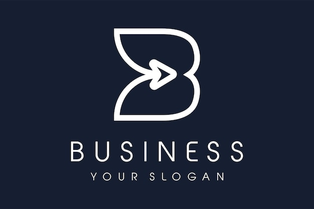 Logo de lettre b avec icône de vecteur de flèche