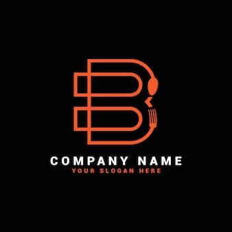 Logo de lettre b, logo de lettre de nourriture b, logo de lettre de cuillère b