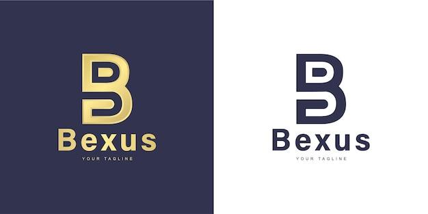 Logo de lettre b minimaliste avec concept «abstrait» et «doré»