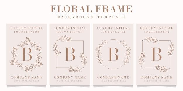 Logo de la lettre b avec modèle de cadre floral