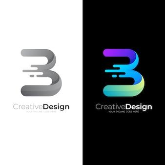 Logo de la lettre b avec modèle de logo swoosh et logo brillant