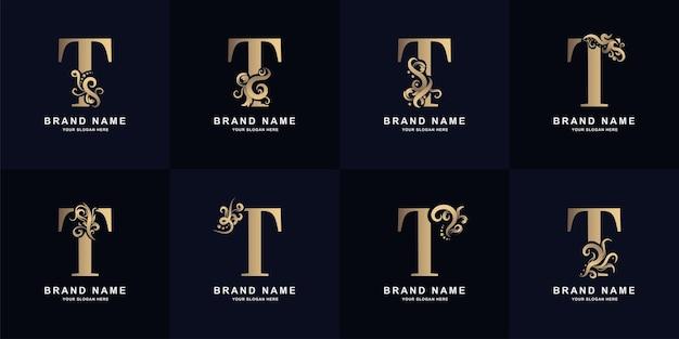 Logo de la lettre de collection t avec un design d'ornement de luxe