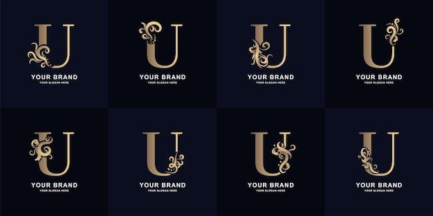 Logo de la lettre de collection u avec un design d'ornement de luxe