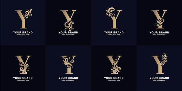 Logo de la lettre de collection y avec un design d'ornement de luxe