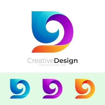 Logo de la lettre d et combinaison de conception de vague