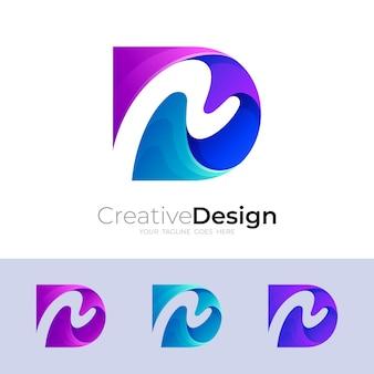 Logo de la lettre d et combinaison d'icônes de la lettre n, logos colorés 3d