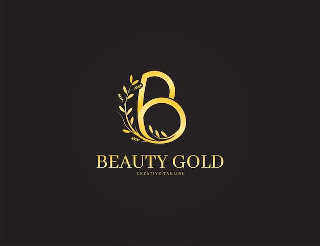 Logo de lettre décorative de luxe b avec concept or et floral
