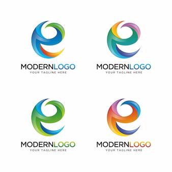 Logo de lettre e coloré