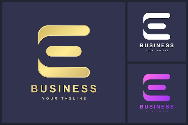 Logo de la lettre e avec concept abstrait