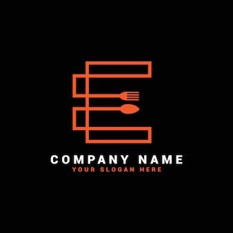 Logo de lettre e, logo de lettre de nourriture e, logo de lettre de cuillère e