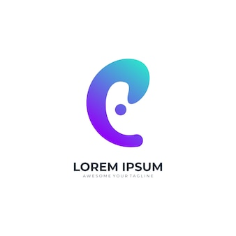 Logo lettre e technologie dégradé de couleur moderne