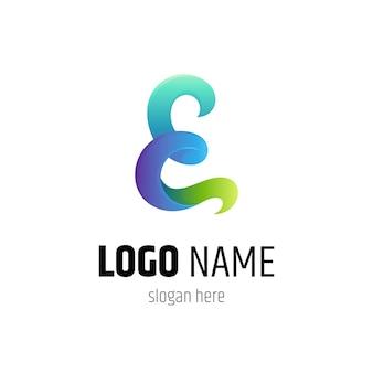 Logo de la lettre e vague dans un style de couleur dégradé